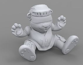 3D printable model bear in a hockey suit accessory