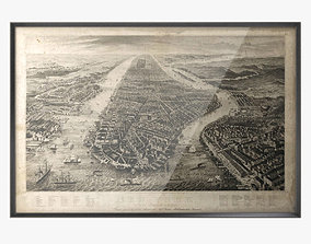 Restoration Hardware 1867 New York Aerial Engraving 3D