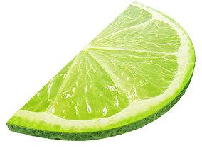 Lime round slice half 2 3D