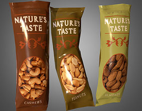 Snack Nut Bags - PBR Game Ready low 3D model