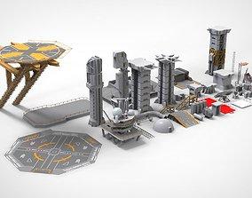 3D model Sci-Fi architecture Elements collection 2