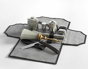 Victorian Mens Grooming Shaving Kit and Straight Razor 3D