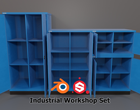 Industrial Workshop Bumped Cabinets Solid PBR 3D model
