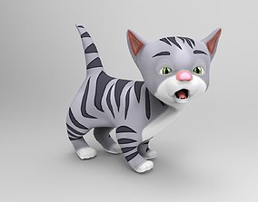 Cartoon Cute gray cat 3d model rigged