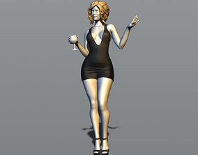 Pretty girl with a glass of wine 3D print model