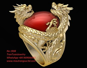 1908 Dragon Ring with Oval Ruby 3D print model