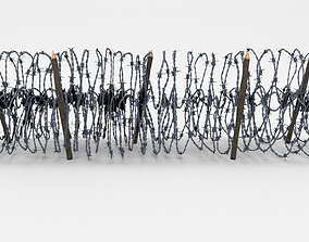 3D model game-ready Low Poly Barb Wire Obstacle