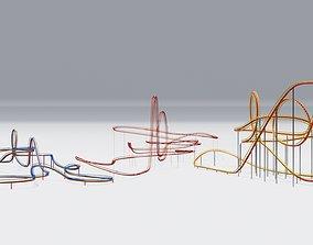 Three Rollercoaster 3D model