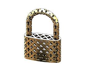 Moucharabieh gold padlock 3D print model