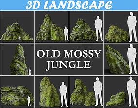 Low poly jungle mossy modular rock 3D model