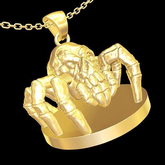 Spider skull Sculpture Pendant jewelry gold necklace 3D print model