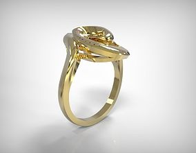 Twisted Design Top Golden Jewelry Ring 3D print model