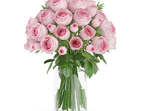 3D model Pink Roses in Glass Vase