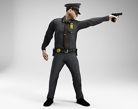polieman gun in hand ready to shoot low poly 3D asset 1