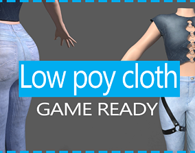 3D asset game ready women clothes