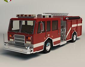 3D model Low Poly Fire Truck 04