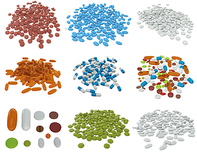 Pills on ground various colors 3D
