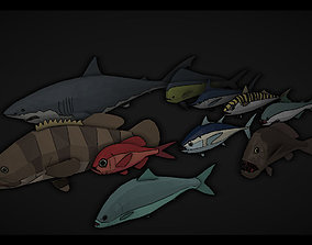 3D asset low poly animation fishs pack
