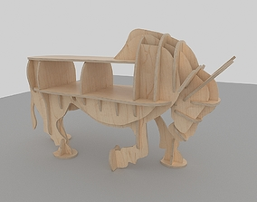 CNC vector for plywood bull coffee table 3D