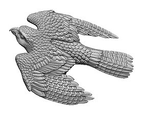Bird Falcon relief pendant for 3d print CNC