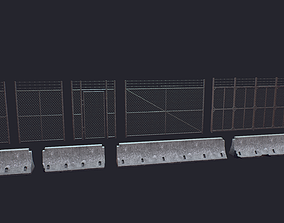 perimeter 3D model low-poly Fence