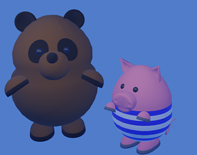 Winnie The Pooh and Piglet 3D model cartoon