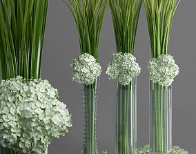 Big Giant Elegant Hydrangea Flower Bouquet Vase 3D model 3