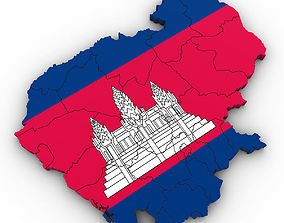 3d Political Map of Cambodia