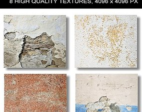 3D 8 x Different High Quality PBR Old Wall
