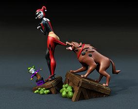 Harley Quinn cartoon 3D print model