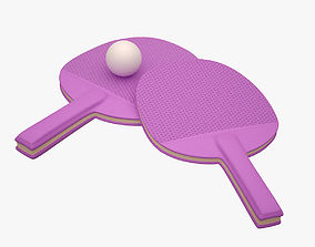 Ping Pong Paddle 002 Purple 3D asset