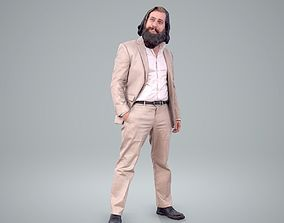 Classy Bearded Man with Brown Suit 3D