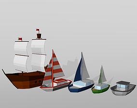 3D model Boat low poly set