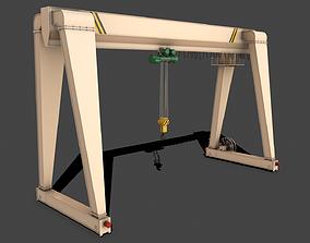 3D asset PBR Single Girder Gantry Crane V2 - White