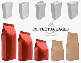 Coffee foil craft paper package packaging 3D model 2