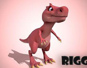 3D model Cartoon red dino