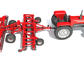 Tractor with Disc Harrow 3D