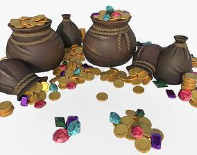 Bag of Coins 3D asset