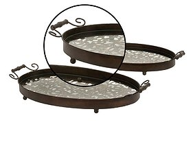New Traditional Iron and Glass Damask Oval Trays 3D