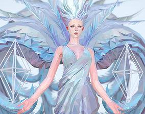 VR / AR ready Polygon Art White Angel A Women 3d Model