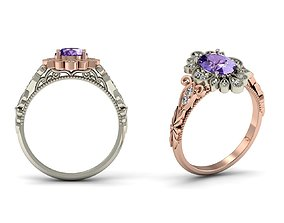 Women Oval Solitaire Engagement Ring 3dm Render Detail 1