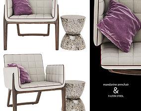 3D model fulton stool and mandarine armchair
