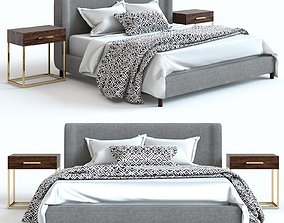 Pottery Barn - Rochella Bed and Fitz Nighstand 3D model