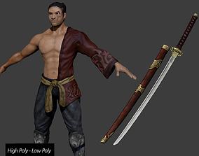 3D asset Samurai Katana - High Poly - Low Poly