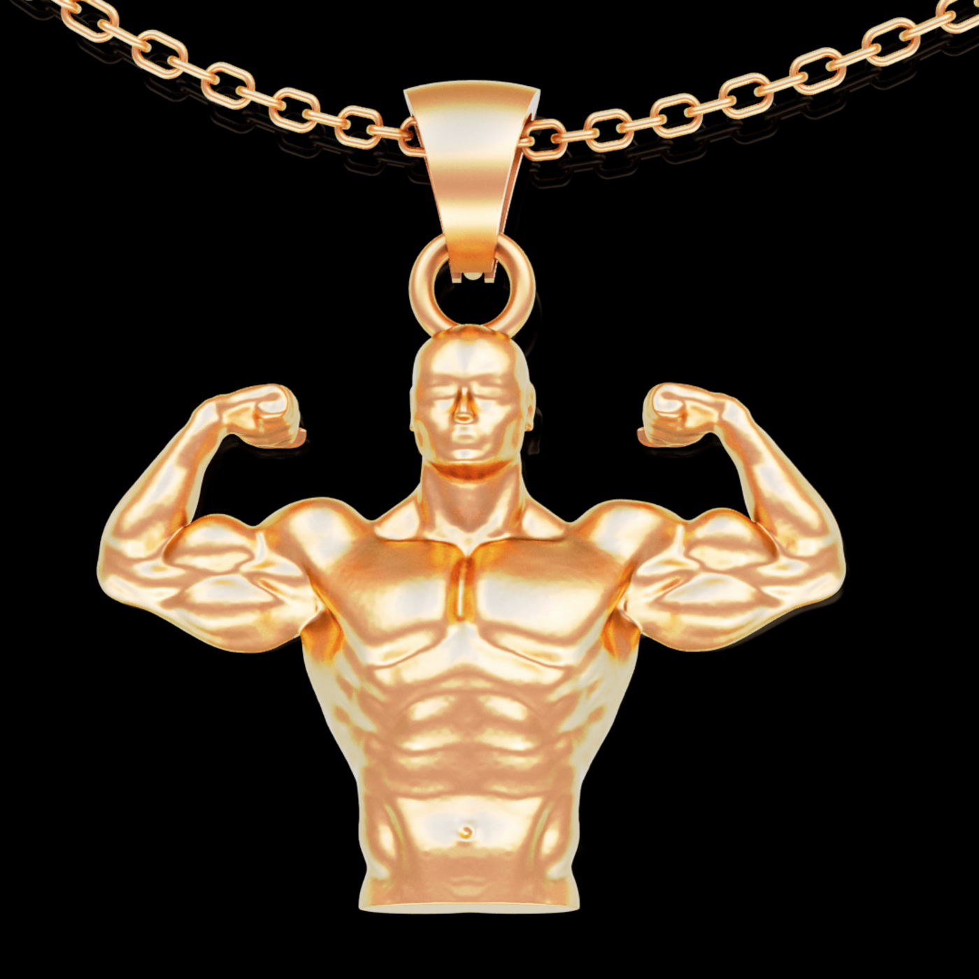 Bodybuilder Portrait pendant jewelry gold necklace medallion 3D print model