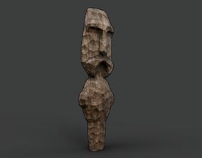 Carved Slavic Wooden Medieval Settlement Totem 3D asset