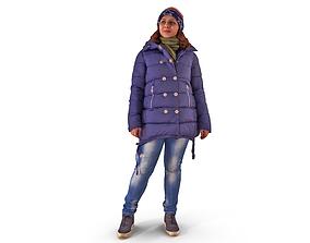 Asian Casual Woman Winter 3D model