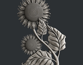 3d STL models for CNC router sunflower
