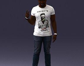 A black man in a white t-shirt 0902 3D Print Ready