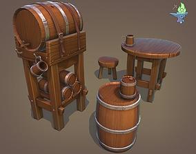3D model Tavern Barrel set